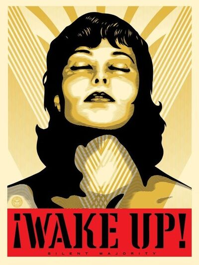 Shepard Fairey, 'Wake Up! - Cream', 2017