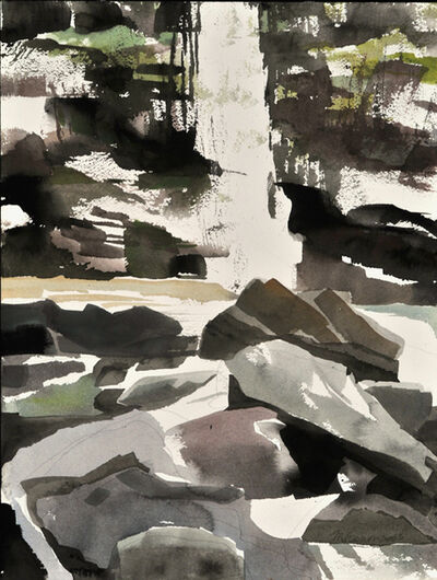 Mariella Bisson, 'Plattekill Falls, Rock and Waterfall Field Painting'