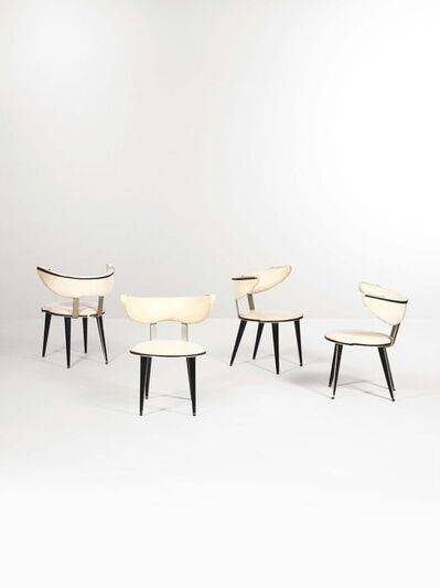 Umberto Mascagni, 'Four chairs with a lacquered wood and metal structure and skai upholstery', 1950 ca.