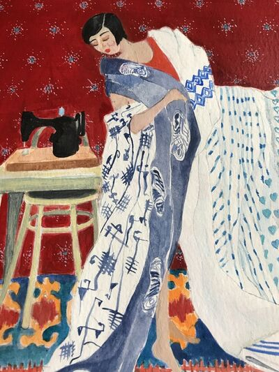 Louise Allen, 'Woman Sewing a New Dress', 2021
