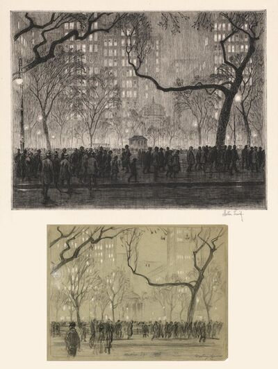 Martin Lewis, 'Madison Square Rainy Night.  (and study drawing)', 1915-1916