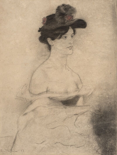 William Rothenstein, 'Woman in a Black Hat', 1893