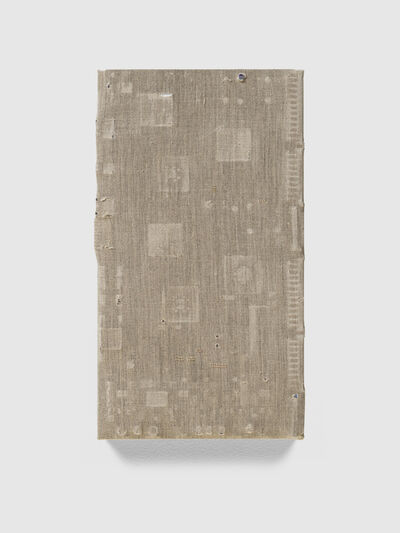 Analia Saban, 'Distressed Canvas Circuit Board (with Component Rubbings and Punctures) #6', 2018