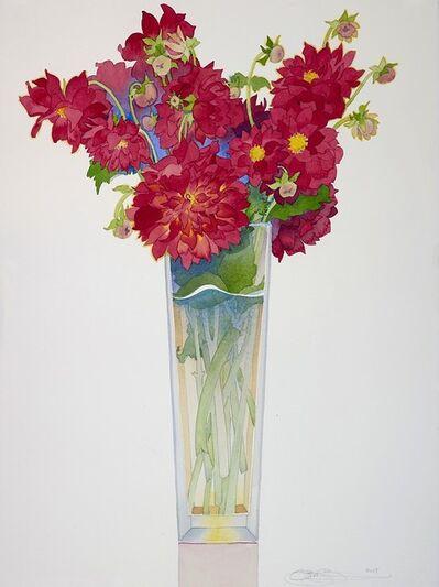 Gary Bukovnik, 'Red Dahlias in a Tall Vase', 2019