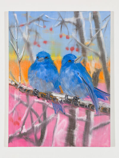 Ann Craven, 'Two Eastern Blue Birds (in Snow at Sunset), 2018', 2018