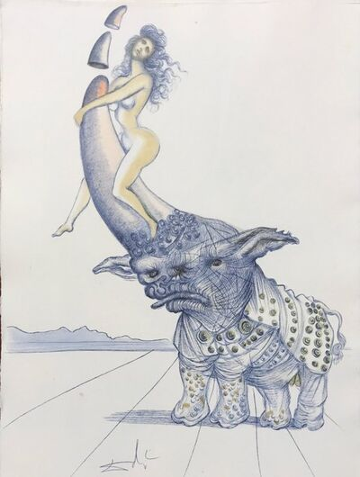 Salvador Dalí, 'Casanova - Girl on rhinoceros horn ', 1967