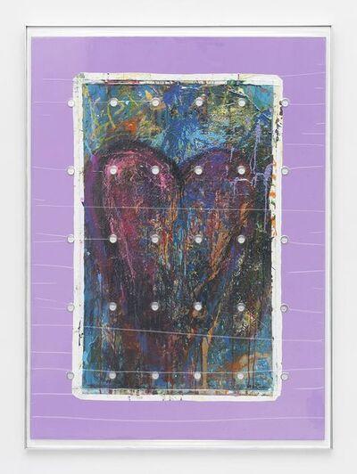 """Brad Troemel, 'Bam Margera 'HELSINKI HEART', 2014 (Acrylic on canvas 30 x 50"""") + (30) LEALANA 1LTC Brass Litecoin', 2015"""