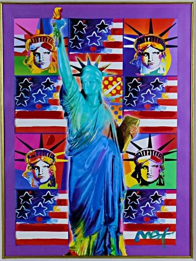 Peter Max, 'United We Stand: Four Statues of Liberty with Blue Statue of Liberty', 2001