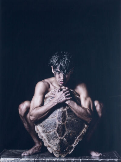 Benno Thoma, 'Turtle ( Young nude male behind shield created from turtle shell)', 2017