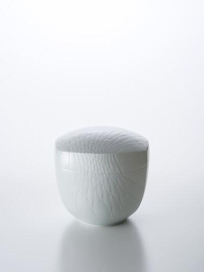 Peter Mark Hamann, 'Sculpted White Porcelain Lidded Box with Expanding Hishi Pattern', 2017