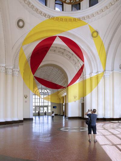 Felice Varini, 'Amarillo y rojo entre discos y trapecios.', 2017