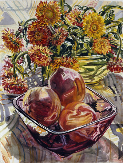 Janet Fish, 'Peaches and Strawflowers', 1990