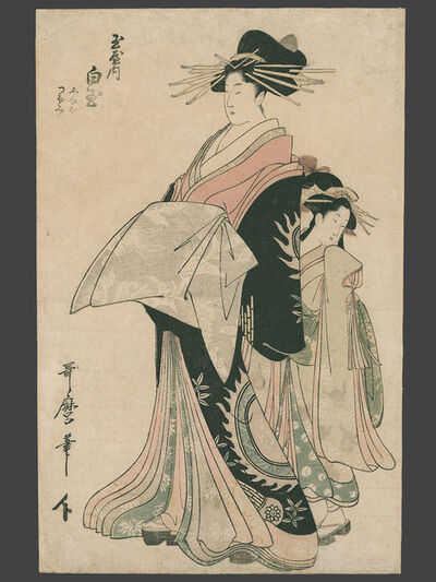 Kitagawa Utamaro, 'Courtesan Shirotama of the Tama-ya with her Kamuro Parading in the Yoshiwara', ca. 1800
