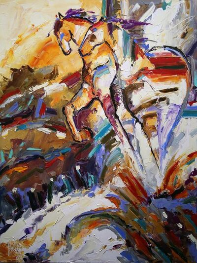Laurie Pace, 'Original Horse Painting 'Hilltoppers' Colorful Equine Art, Modern Western Art', 2017