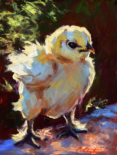 "Cheri Christensen, '""Super Chick"" oil painting of yellow chick with dark background', 2020"