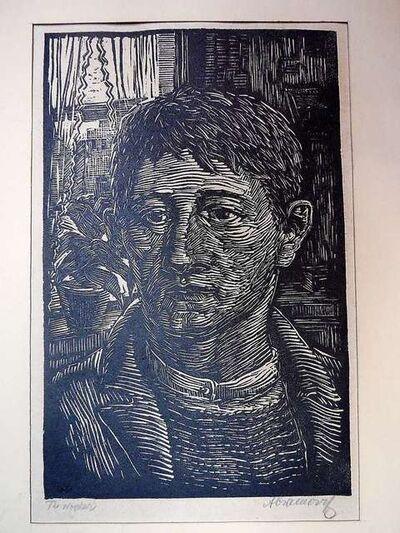 "Albert Abramovitz, 'WPA Expressionist woodblock print. ""The Worker""', 1930-1939"