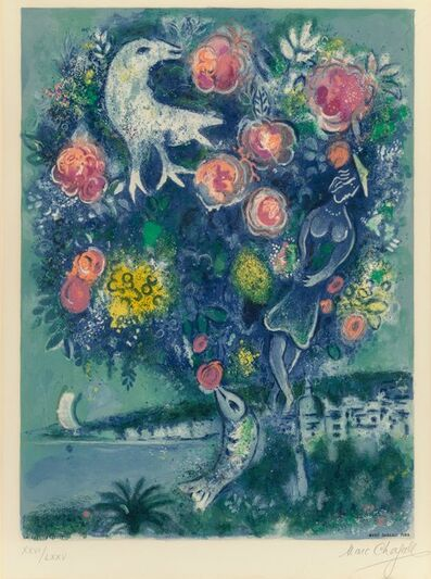 After Marc Chagall, 'Angel Bay with Bouquet of Roses, from Nice and the Cote d'Azur', 1967