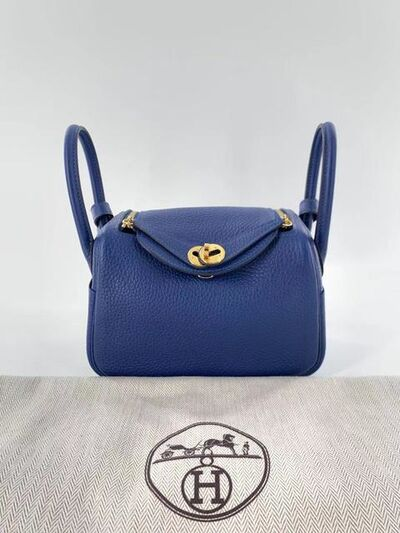 Hermès, 'A Deep Blue Clemence Leather Mini Lindy with Gold Hardware', 2020