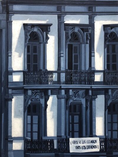 Cecilia Villanueva, 'The Building that Speaks, Mexico City Architecture, blue and white cityscape, post modern realism, shadows and light, conceptual art, Downtown, ', 2019