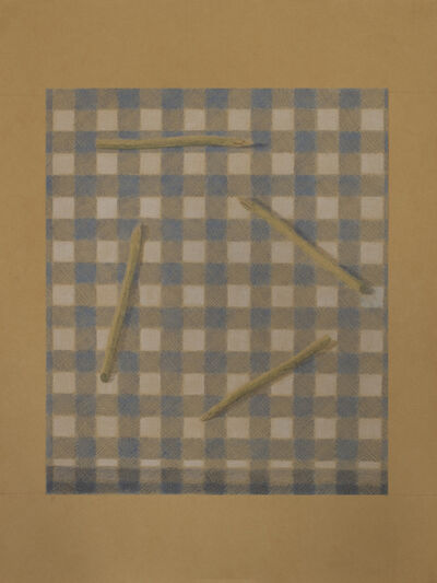 Johnny Izatt-Lowry, '4 Pieces of Asparagus, on a Gingham Table', 2021
