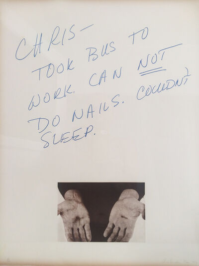 Chris Burden, 'Can not do nails', 1974