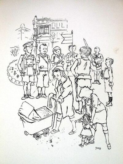 George Grosz, '1936 Lithograph Children Playing Soldier small edition', 1936