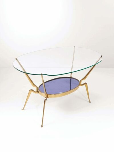 Cesare Lacca, 'A table with a brass structure, one top in cut glass, the other in cut and mirrored coloured glass', 1950 ca.