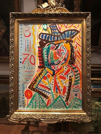 Pablo Picasso, 'Portrait homme au chapeau', 1973