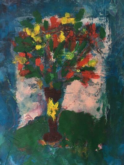 Joel Handorff, 'Painting of bouquet of flowers on fabric: 'Blue Ocean'', 2018