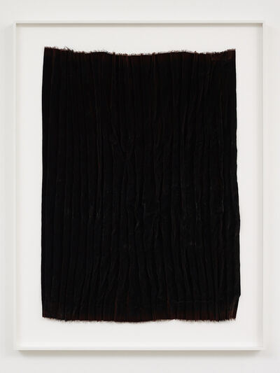 Edith Dekyndt, 'Burned Piece (brown velvet from UK)', 2020