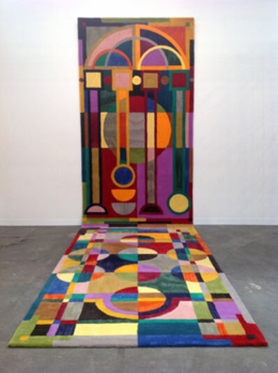 """Isabel Nolan, '""""The sky is not bounded by a fixed edge!"""": an illuminated rug arranged to accommodate a medieval mind.', 2014"""