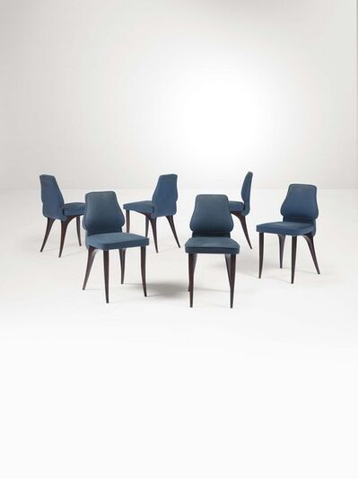 Aldo Morbelli, 'Six chairs with an ebonised wood structure and velvet upholstery', 1950 ca.