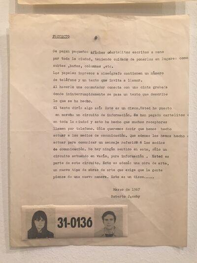 Roberto Jacoby, 'Proyecto', 1967