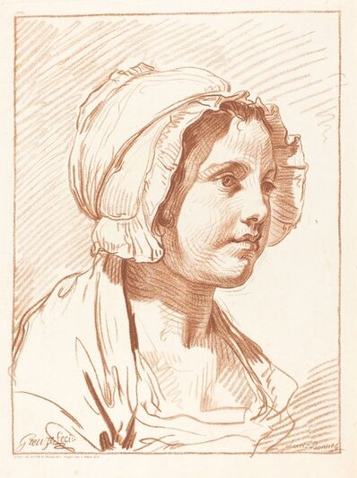 Louis-Marin Bonnet, 'Head of a Young Woman Wearing a Cap', before 1764