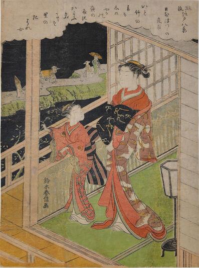 Suzuki Harunobu, 'Evening at Nihonzutsumi', ca. 1768