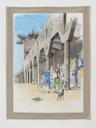 Charles Avery, 'Untitled (Two cyclists beneath the porticos of the City Wall)', 2021