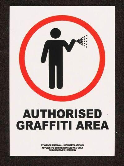Banksy, 'BANKSY AUTHORISED GRAFFITI AREA STICKER, FROM LAZINC GALLERY LONDON', 2004