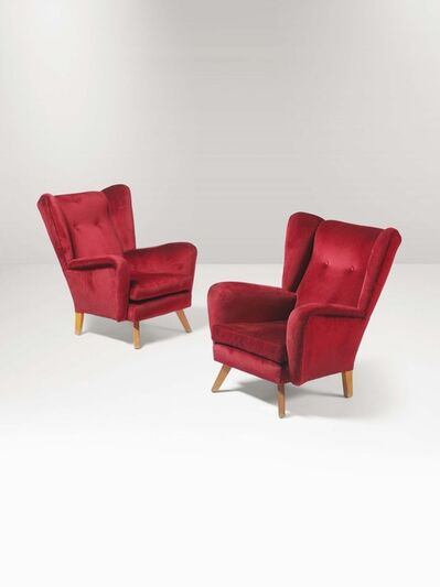 Melchiorre Bega, 'A pair of armchairs with a wooden structure and fabric upholstery', 1950 ca.