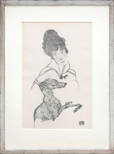 Egon Schiele, 'Edith Schiele mit Windhund, 1917. Edith Schiele with Greyhound, 1917.', 1919