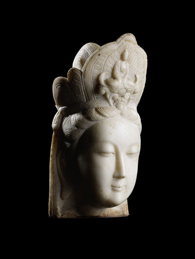 Unknown Chinese, 'A large Hebei white marble head of Guanyin 河北漢白玉觀音頭像', 19th century