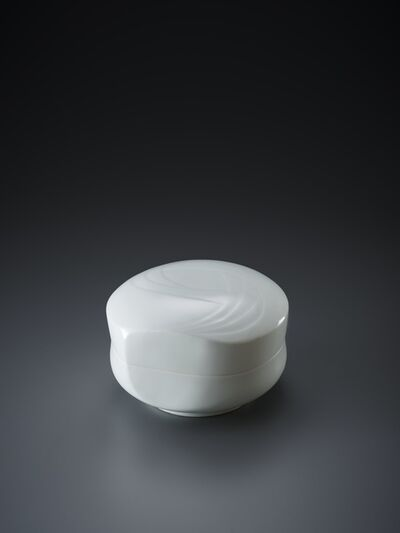 Peter Mark Hamann, 'Sculpted Blue-White Porcelain Lidded Box with Flowing Pattern', 2018
