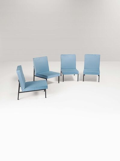 Franco Campo and Carlo Graffi, 'Four armchairs in craquelé painted metal with fabric upholstery', 1960 ca.