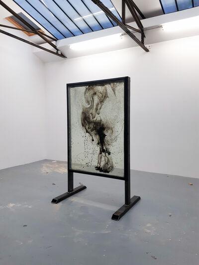 Vivien Roubaud, 'Feu d'artifice, gel de pétrole dégazé, combustion incomplète, verre et structure en métal', 2018