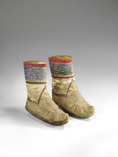 'Paris of womens boots decorated with scrolls and spirals', Late 19th century