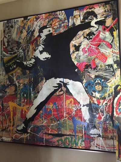 "Mr. Brainwash, '""Bansky Thrower""', 2014"