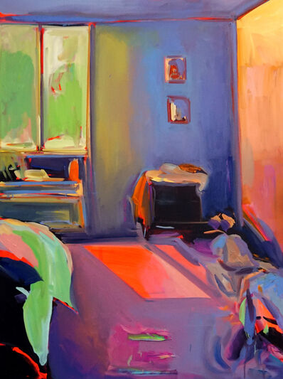 Ekaterina Popova, 'Sunset Summer, Oil on canvas, bright and colorful textured interior series', 2019