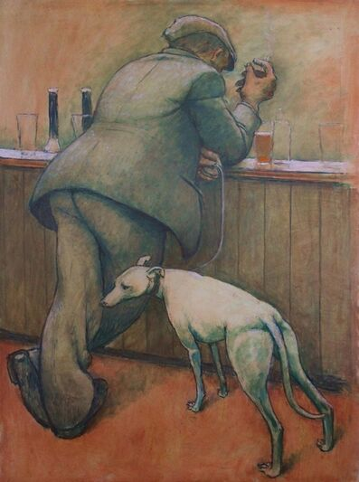 Norman Cornish, 'Man at bar with dog on lead', ca. 1965