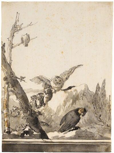 Giovanni Domenico Tiepolo, 'Owls on a Rocky Perch', 17th century