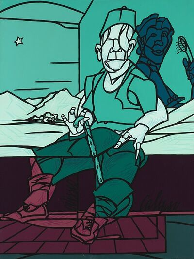 Valerio Adami, 'Calipso e Odisseo', 2000