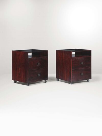 Carlo de Carli, 'A pair of nightstands with a lacquered wood structure, glass top and metal details', 1950 ca.